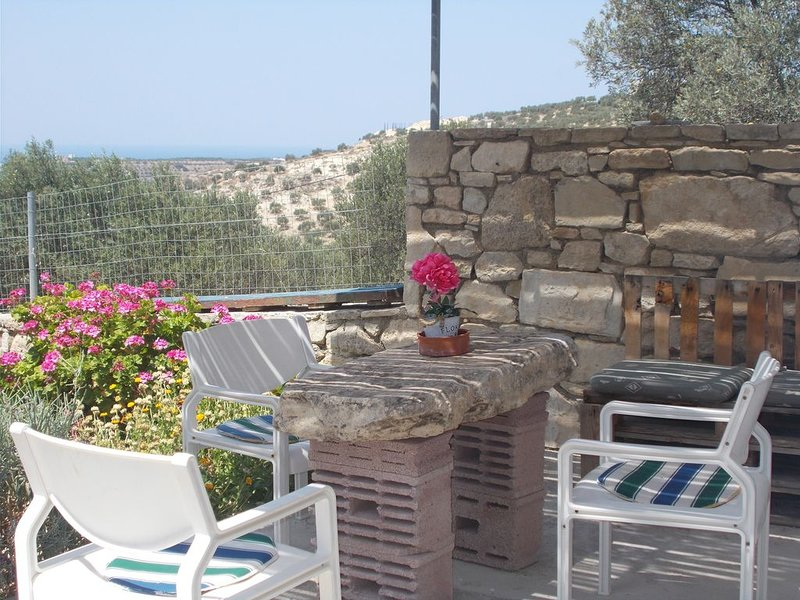 The papas house on the hill with mountain and sea view friendly for familys, holiday rental in Kamilari