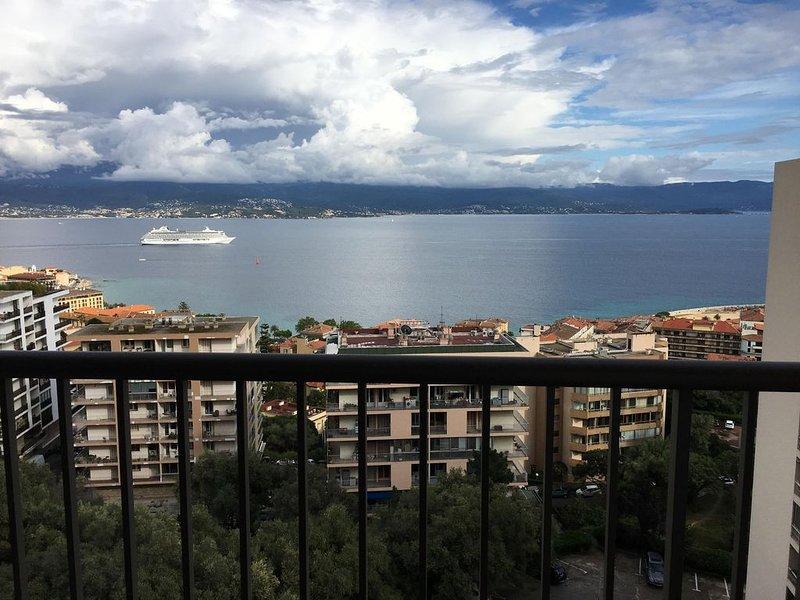 F1 36m2, sur les hauteurs du centre ville, calme, vue mer, climatisation, vacation rental in Ajaccio