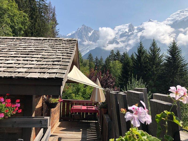 Le Mazot, mini chalet, idéal pour 2 personnes. Vue exceptionnelle., holiday rental in Chamonix