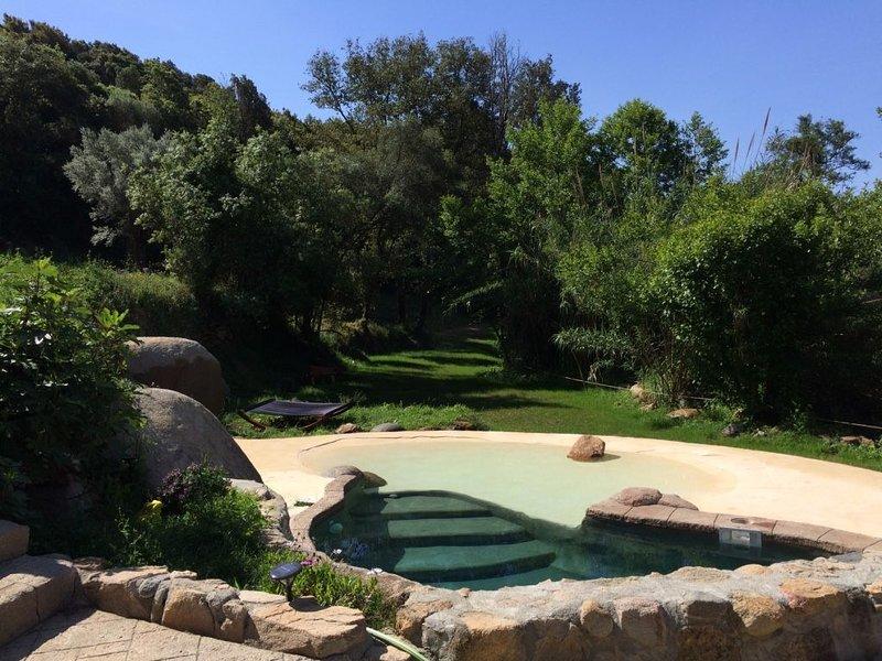 Maisonnette organique avec piscine, ruisseau et forêt, toute proche des plages., location de vacances à Sollacaro