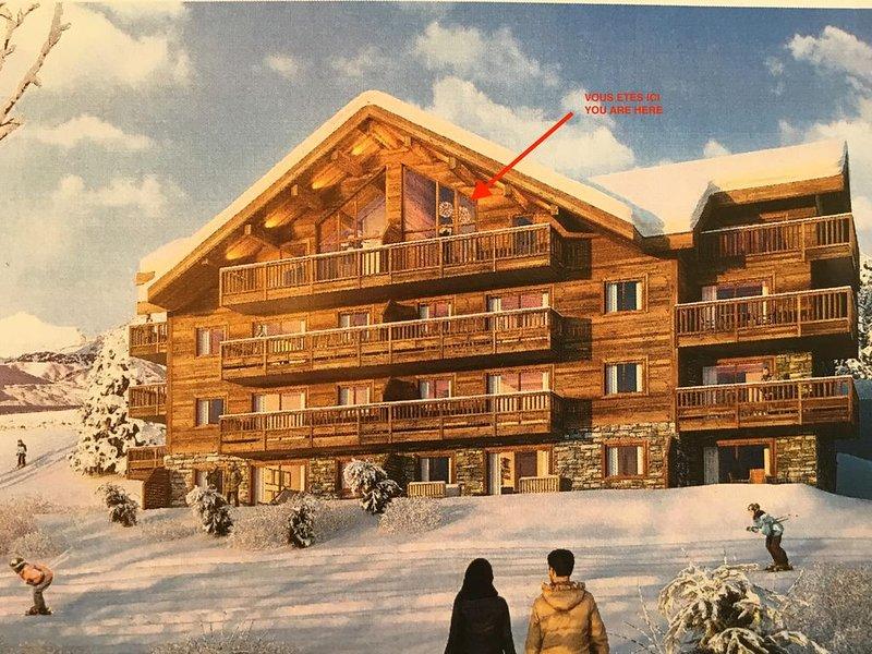 Appartement de standing neuf, 6 personnes, Résidence L'Odyssée, La Toussuire, location de vacances à Fontcouverte-la-Toussuire