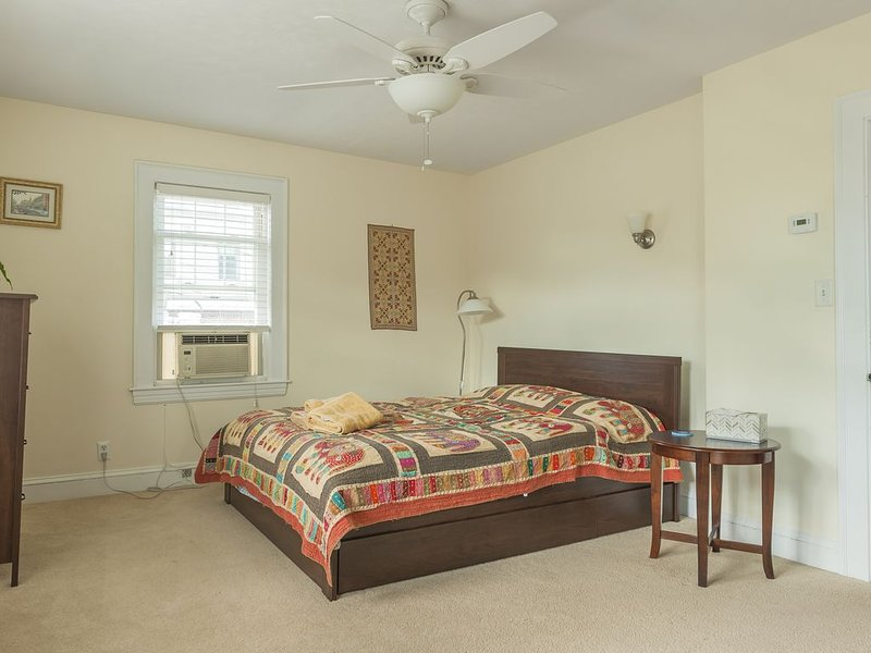 Large Master Bedroom with queen size bed and walk in closet and window AC unit.