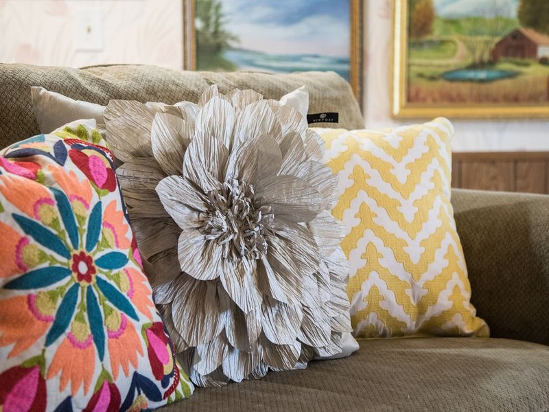 Stylish pillows abound to make you feel comfy and cozy.