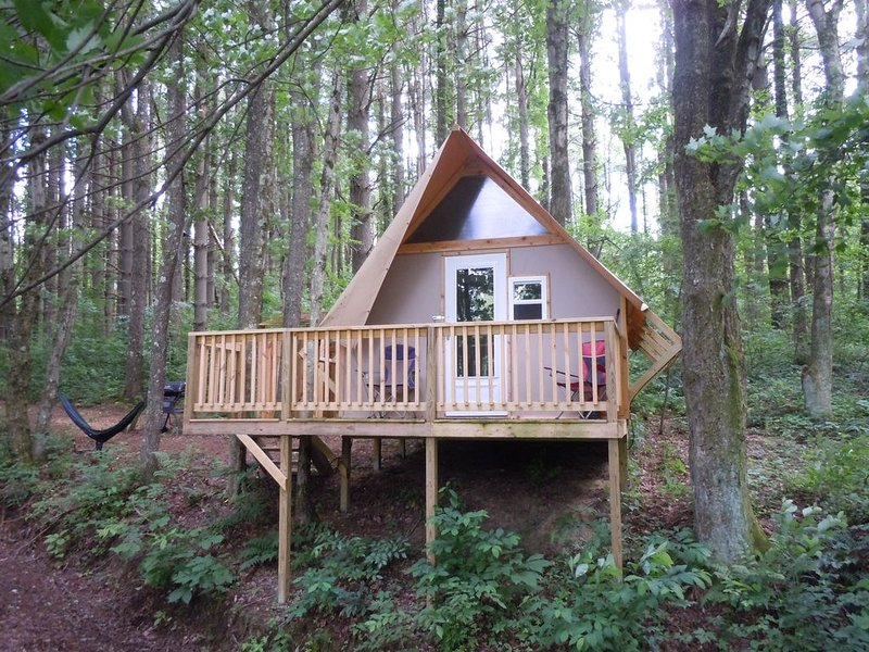The Duck Nest Glamping Cabin at Dragonfly Lake, vacation rental in Lore City