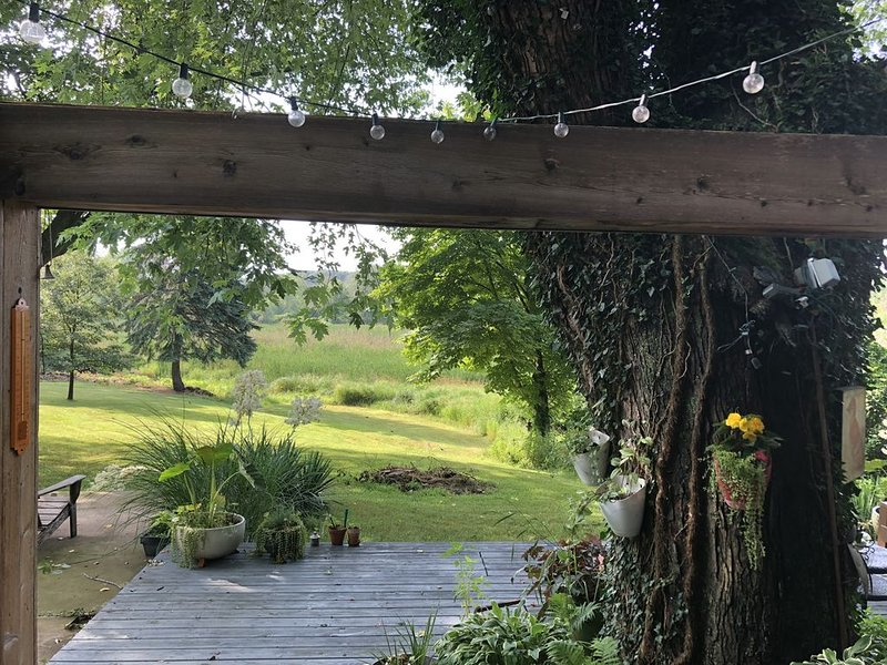 Bright Two Bedroom Cottage tucked away on the Galien River Preserve, alquiler de vacaciones en New Buffalo