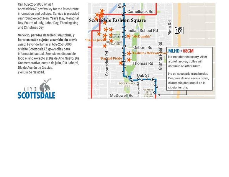Trolley Map South Scottsdale. Vi noterade några * favoriter * i orange!