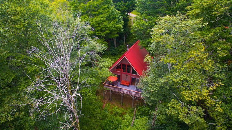 Secluded Rustic Mountain Cabin within Gated Community w/ Hot Tub, Firepit & View, Ferienwohnung in Mars Hill
