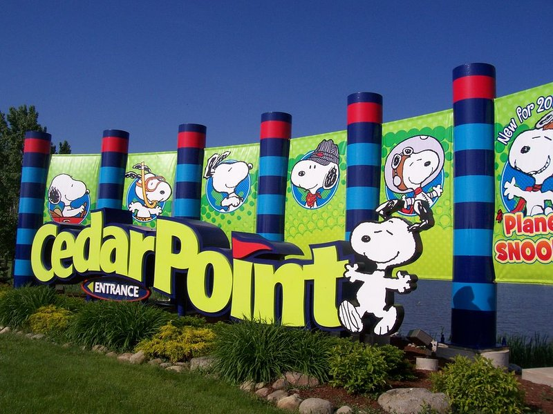 The entrance to Cedar Point is right at the end of our road!