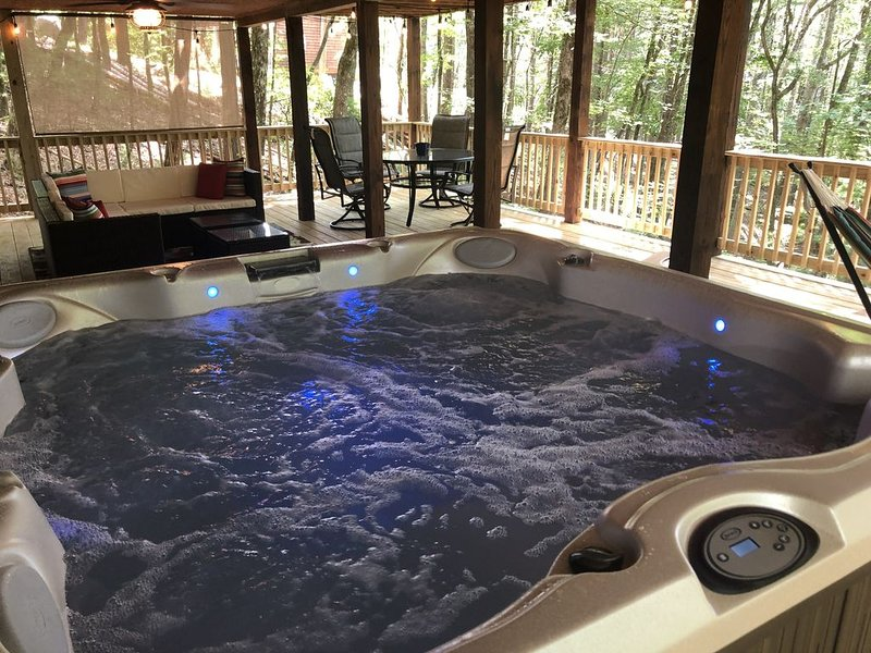 """""""Beary Irresistable"""" BRAND NEW Hot tub, double decks, outdoor dining/living area, vacation rental in Cherrylog"""