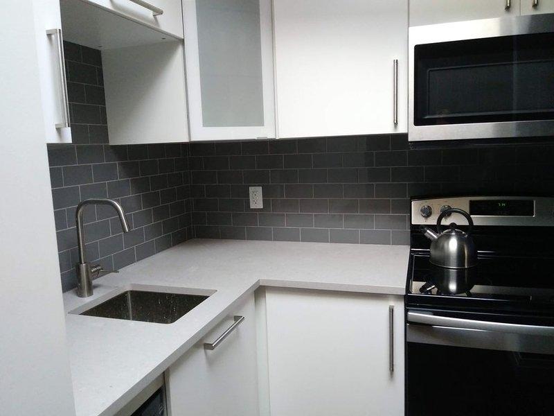 Cocina completamente equipada con horno, estufa, microondas y nevera.