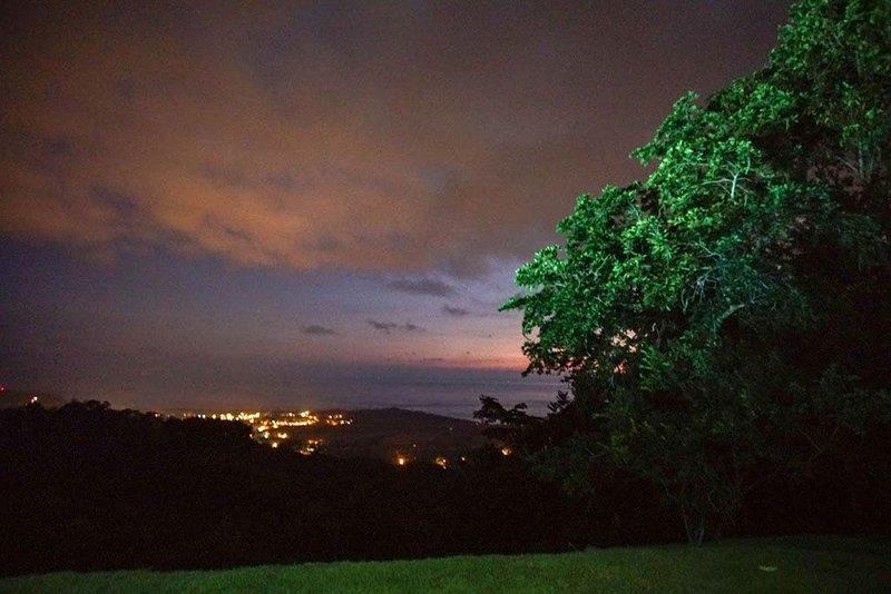 A magical night view of Uvita from Villa Blu.