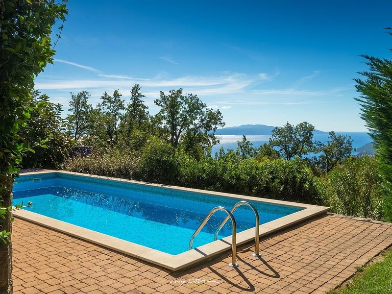 Lovely villa with pool and a sea view near Opatija, holiday rental in Veprinac