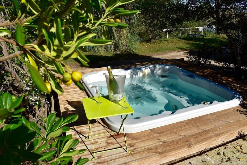 In a luxury setting, with Jacuzzi and swimming pool