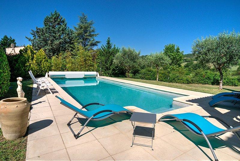 Vaste villa et piscine au calme dans la verdure du Lubéron,  pour 10, holiday rental in Cruis