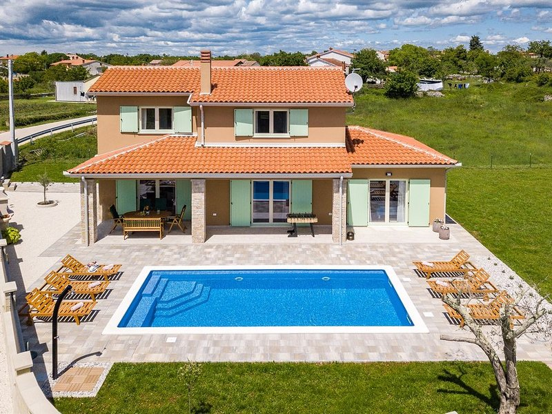 A bright and serene holiday home with private pool and children's playground, holiday rental in Butkovici