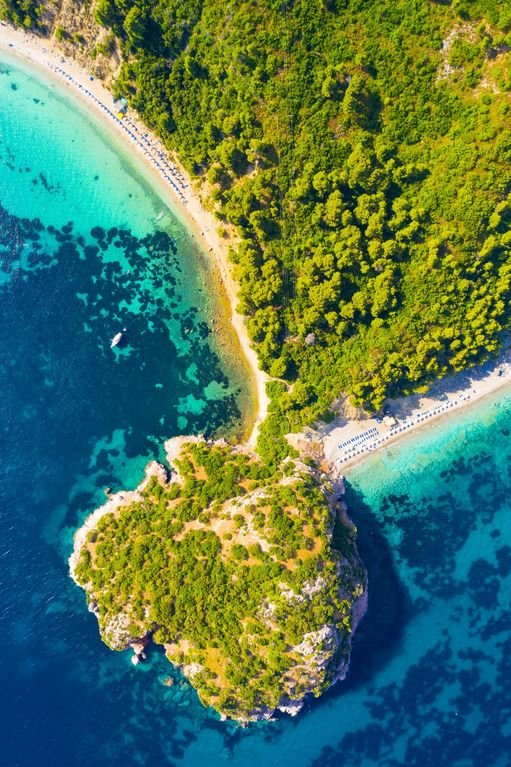 Aerial view of Stafilos Beach - only a 10 minute walk from Michaels Cottage