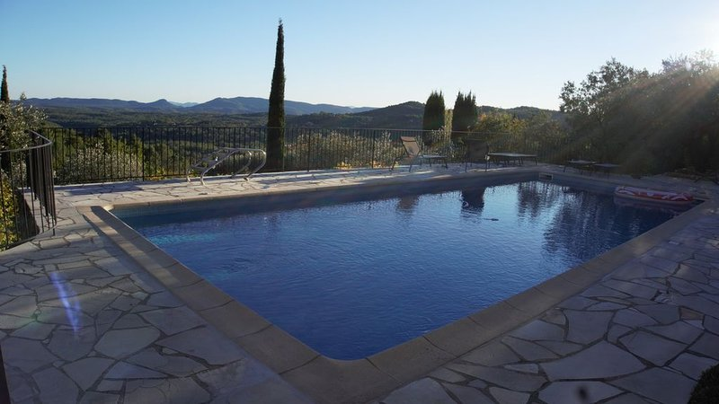 Large heated salt water pool with views over the valley