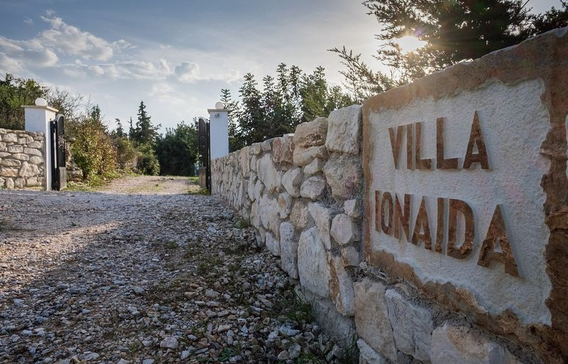 Entrance to Villa Ionaida and drive