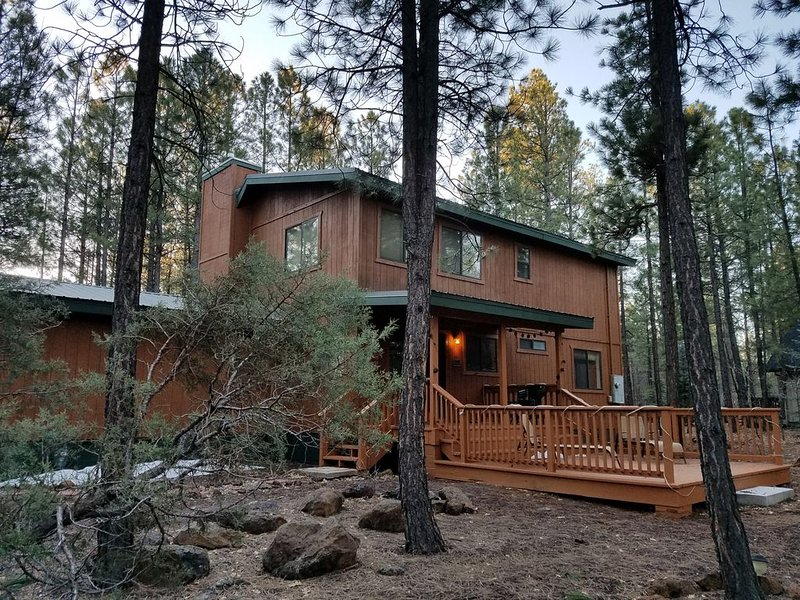 Blue Lake cabin on an amazing lot full of tall Ponderosa pines, location de vacances à Vernon