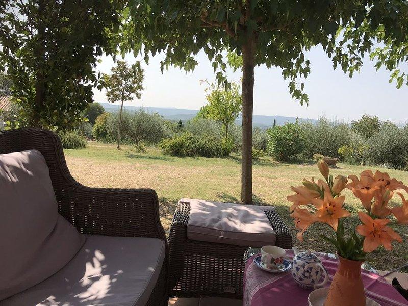 Beautiful house, magnificent view, a lovely garden, pool, close to vibrant villa, location de vacances à Cotignac