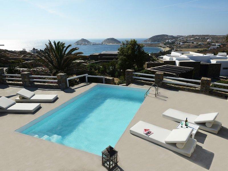 Luxury villa Kalafati, private pool, 4 BR/sea view, holiday rental in Kalafatis