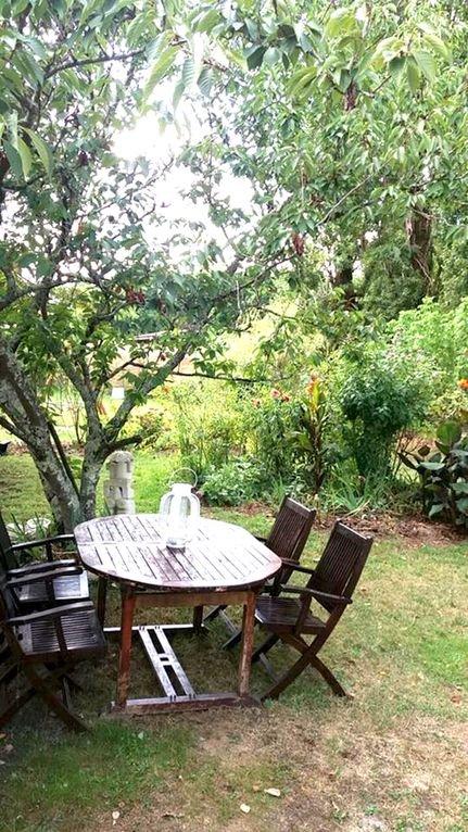 vue de la porte d'entrée sur la partie disponible du jardin. coin terrasse repas