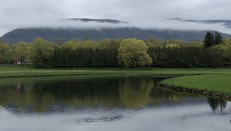 Mist over the Blue Mountains and Saugerties Reservoir.