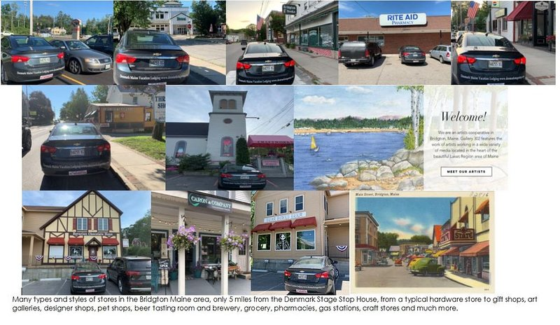 An array of stores & shops 5 miles away Bridgton Maine from Denmark Stage Stop