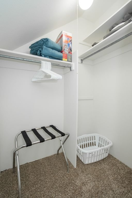Each bedroom has a closet with extra sheets, laundry basket, and more.