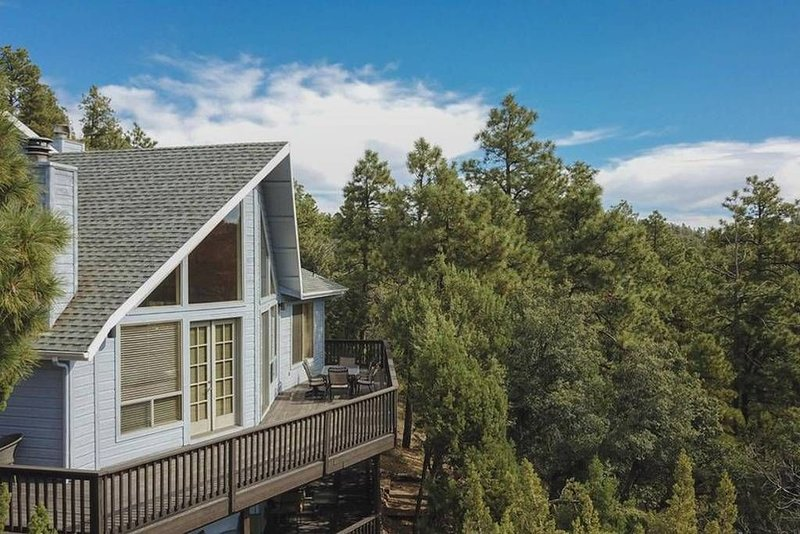 Breathtaking views of the Prescott National Forest from this expansive deck.