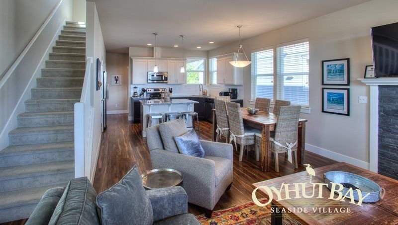 open concept spacious living, dining & kitchen area