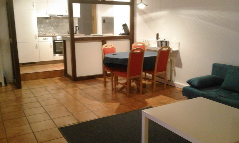 Open kitchen with dining area and living room