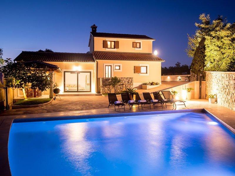 50qm privater Pool, großer Garten, familienfreundlich, jedes Zimmer klimatisiert, holiday rental in Zminj