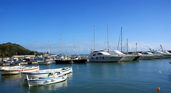 The beautiful harbor of the fishing village.