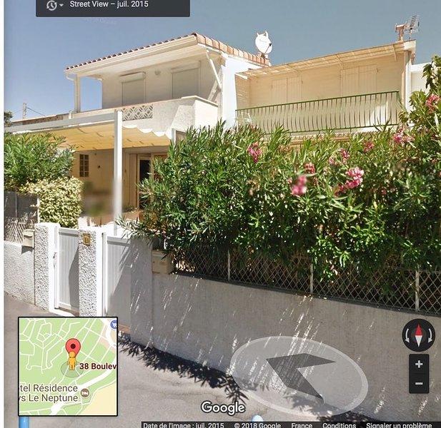 Villa rénovée 6 pers, 3 chambres, 2 terrasses, solarium, 200m plage, calme mer, alquiler vacacional en Saint-Pierre-la-Mer