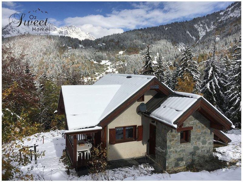 Chalet cosy privatif, pied des pistes, Oz, domaine skiable de l' Alpe d'Huez, holiday rental in Isere