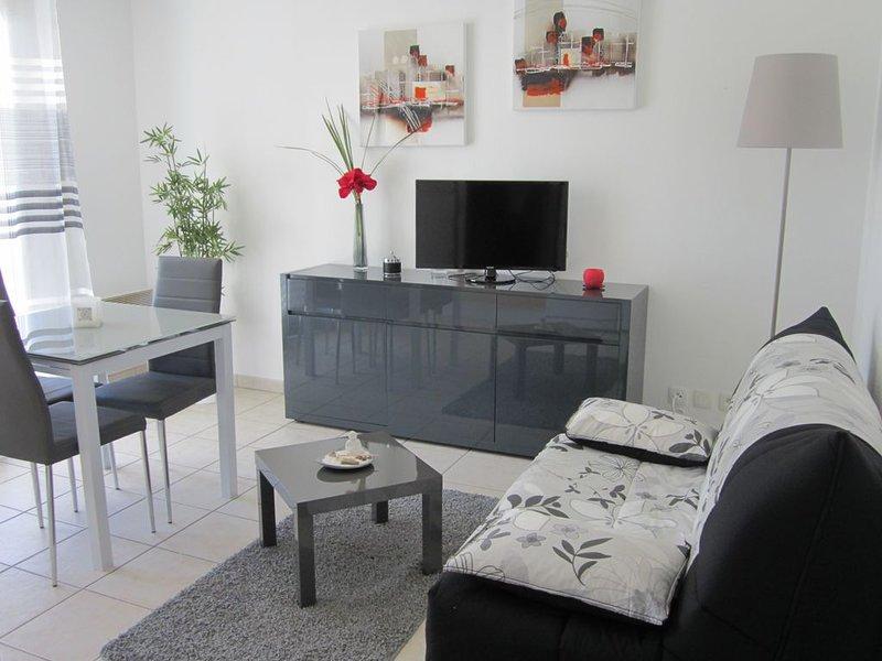 T2 - 40 m2 standing, design, securisé - piscine et parking privé.RDC avec Jardin, holiday rental in Bidarray