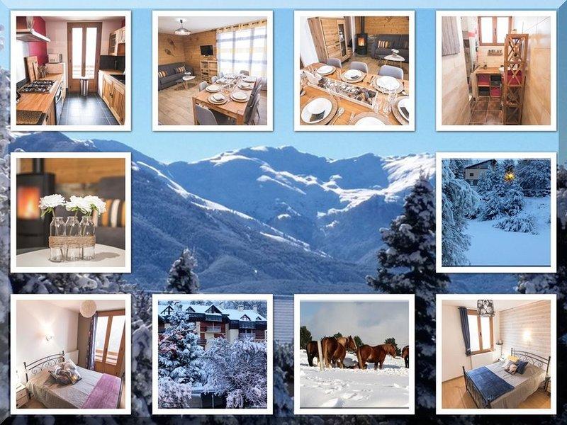 Coquet T3 vue sur la Montagne, déco typique,parking, tout confort 6/8 personnes, location de vacances à Eyne