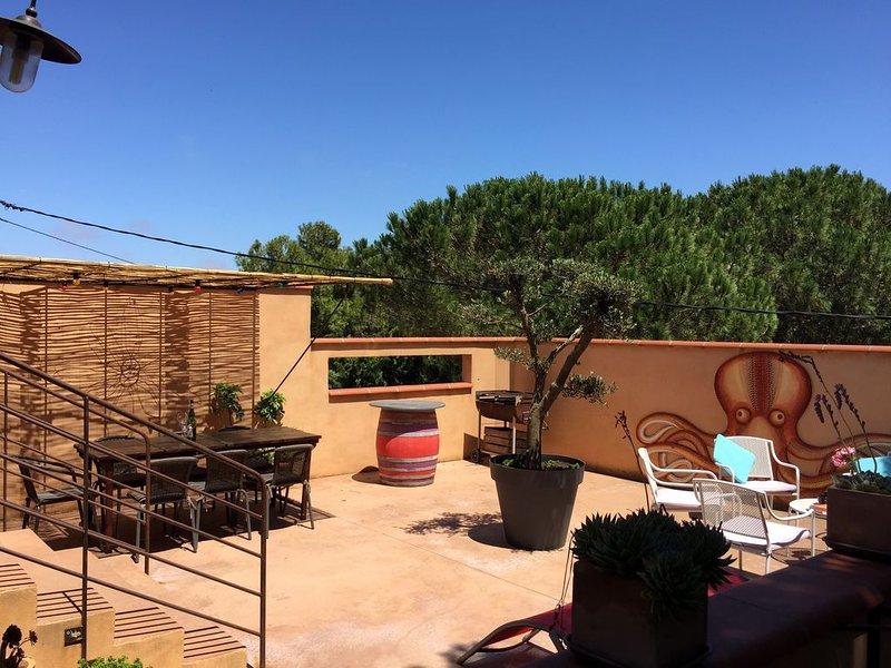 Authentique mas de charme au cœur d'un domaine viticole avec vue sur la mer, holiday rental in Canet-en-Roussillon