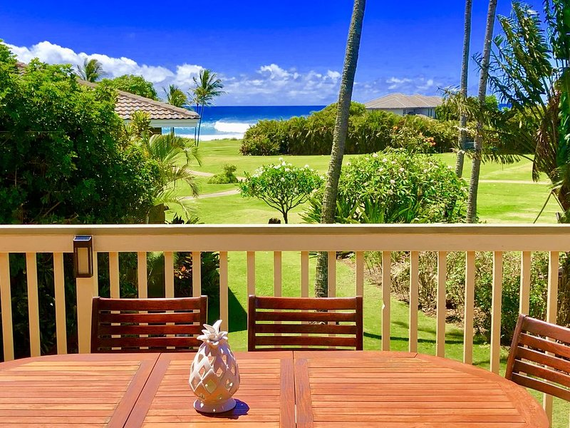 AC Ocean Views*Steps to Beach*Next to Grand Hyatt*Large Lanai*Greenbelt Trails, Ferienwohnung in Koloa