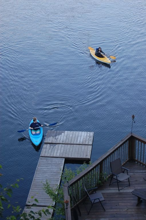 our two kayaks on the lake