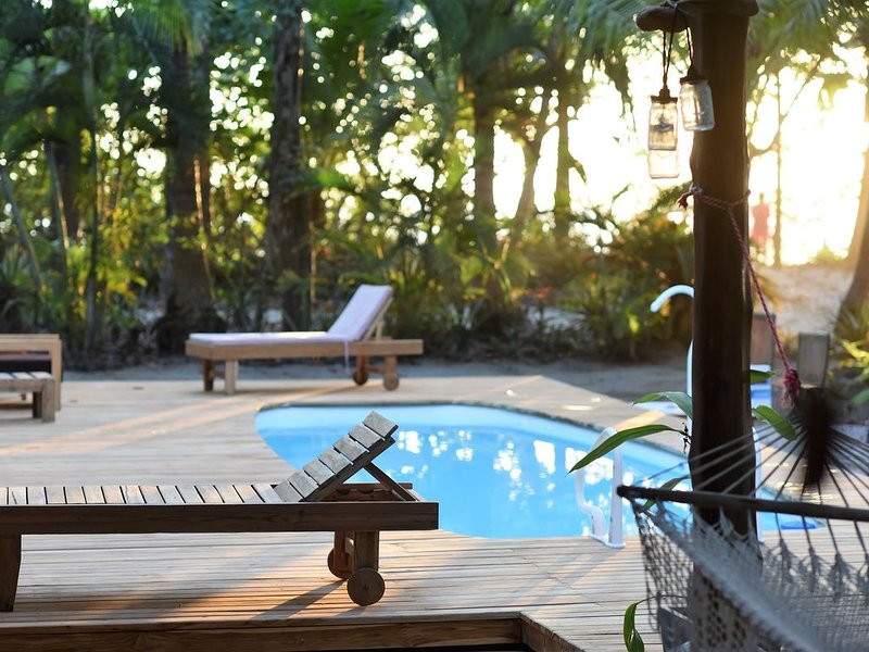 Beachfront Palm Villa with private pool - Right on the Beach!!!, holiday rental in Mal Pais
