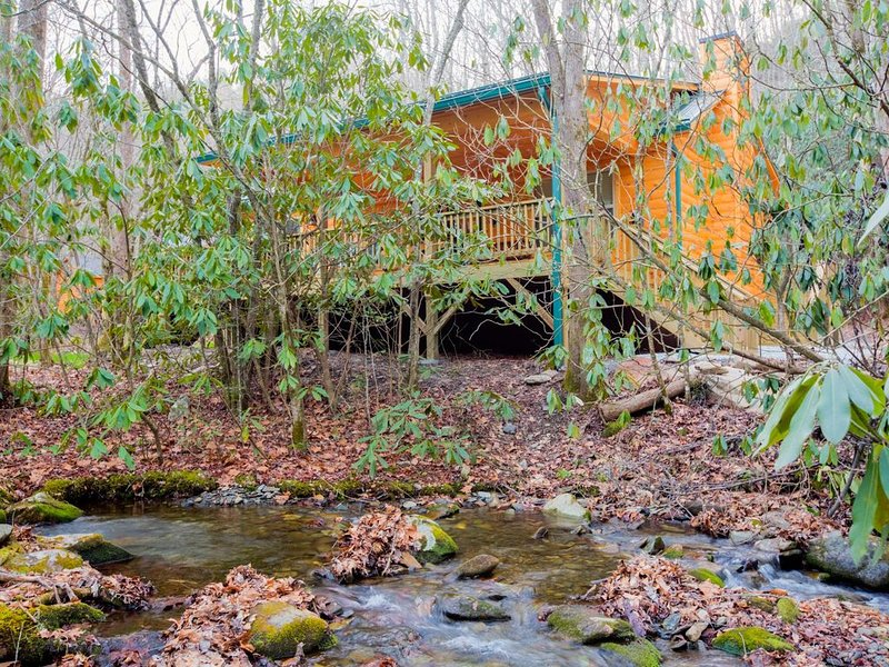 Log cabin nestled in the mountains and situated on Collett Creek, alquiler vacacional en Andrews