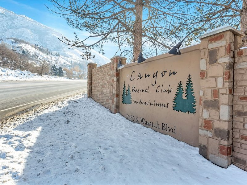 Entrance to Canyon Racquet Club Condominiums from Wasatch Boulevard
