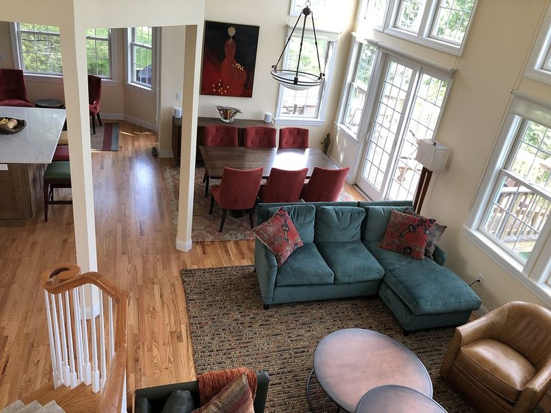 "Aerial view of the ""open concept living"" area with high ceilings and big windows"
