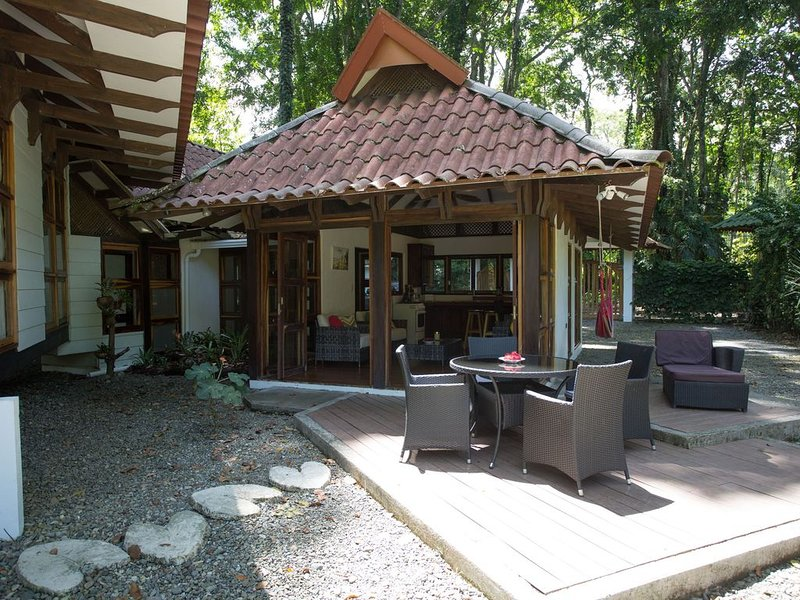 The decking is a perfect place to dine and relax; surrounded by nature.