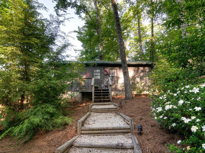Lake Lure cabin with a mountain view from your romantic hot tub for two., vacation rental in Lake Lure
