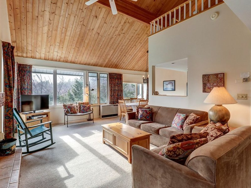 Bright condo with shared pool, sauna, & hot tub, close to skiing, holiday rental in Lincoln