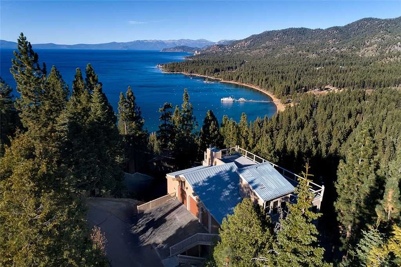Aerial Shot of House & Zephyr Cove