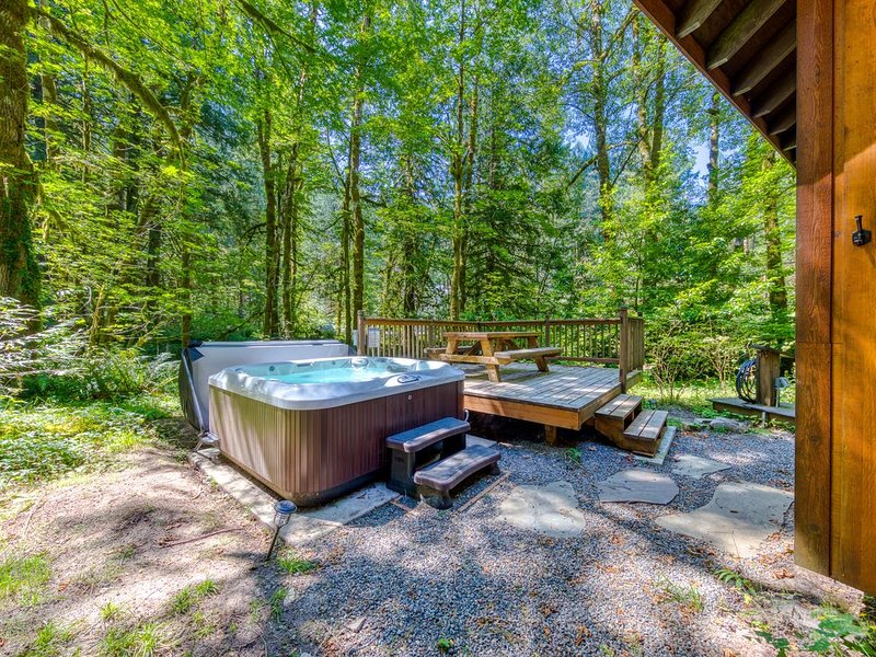 Two classic cabins w/ private hot tubs, decks & gorgeous woodland views!, location de vacances à Rhododendron